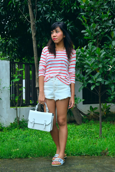 white satchel Topshop bag - red stripes H&M top