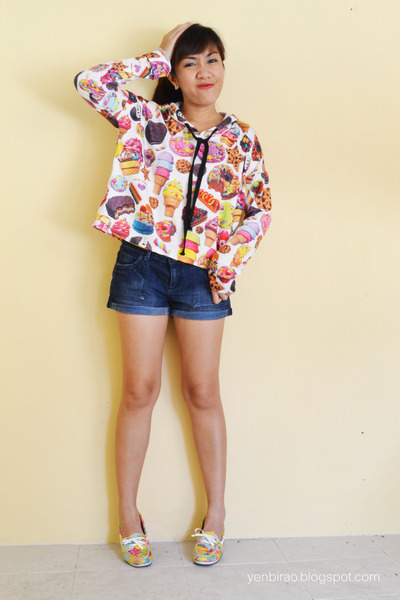 bubble gum sweets print pinkaholic hoodie - navy Forever 21 shorts