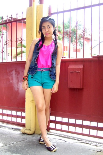 hot pink Just Chic top - turquoise blue Just Chic shorts - brown Celine flats