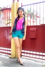 Turquoise-blue-just-chic-shorts-hot-pink-just-chic-top-brown-celine-flats