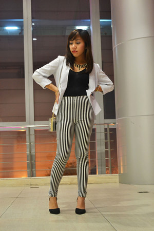 white thrifted Thrift Store blazer - black stripes Just Chic pants