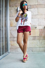 Magenta-scallop-shorts-white-lace-back-top