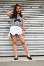 heather gray bonjour Just Chic shirt - white origami skort yesh5deal skirt