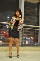 black floral bomber romwe jacket - brick red Nine West bag