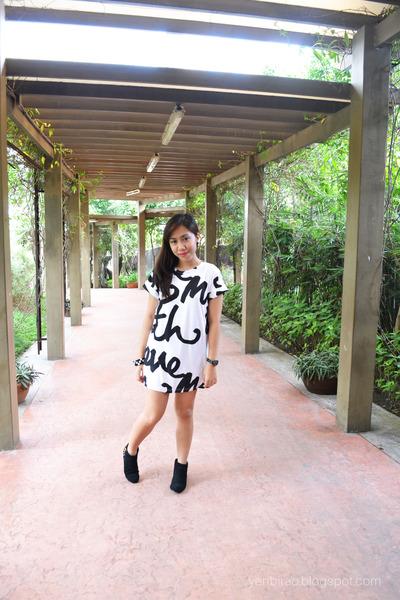 black studded Topshop boots - white shirt dress River Island dress