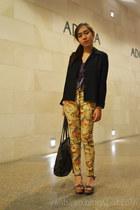 mustard floral pants - black Marithe Francois Girbaud bag