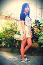 cream sling Secosana bag - off white printed denim thrifted shorts