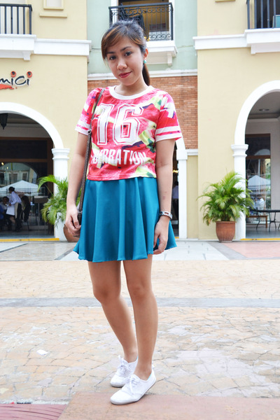 red aberration Androgyne Manila top - teal skater Bubbles skirt