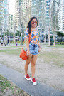 Blue-denim-cut-offs-topshop-shorts-orange-palm-print-crop-the-sweet-cloth-top