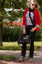 black Mohito scarf - navy camaieu jeans - red Stradivarius jacket