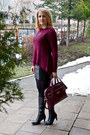 Black-c-a-dress-magenta-reserved-sweater-maroon-mohito-bag