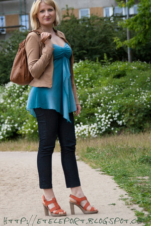 teal new look top - navy camaieu jeans - sky blue New Yorker ring