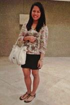 handbag Steve Madden bag - floral print Just G blouse - bandage skirt