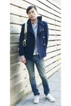 jacket - jeans - purse - shirt