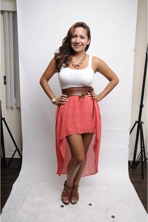 gold watch - brown heels - salmon skirt - brown belt - gold necklace - white top