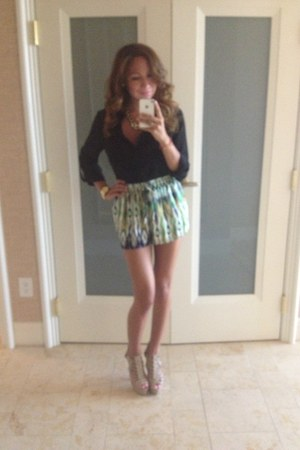 neutral Charlotte Russe heels - multi color shorts - black Charlotte Russe top