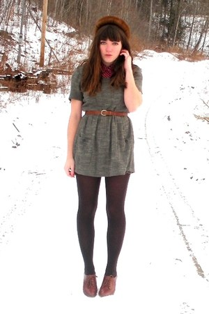 brown blimey oxfords seychelles shoes - heather gray thrifted dress - dark brown