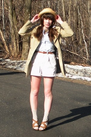 brown simply vera shoes - camel trench H&M coat - light yellow straw thrifted ha