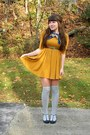 Navy-mirage-coat-mustard-h-m-dress-navy-thrifted-scarf