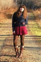 navy vintage sweater - maroon thrifted skirt - dark brown Aldo boots