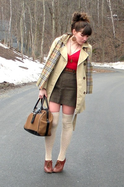 brown blimey oxfords seychelles shoes - red wrap American Apparel dress - camel