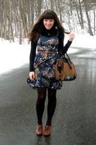 brown blimey oxfords seychelles shoes - blue floral Urban Outfitters dress - bla