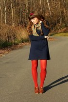 ruby red HUE tights - navy thrifted dress - dark khaki thrifted scarf