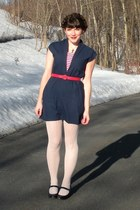 navy Salvation Army dress - black mary janes Payless shoes
