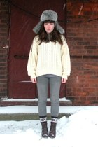 cream thrifted sweater - heather gray PacSun jeans - dark brown seychelles boots