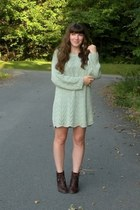 aquamarine sweater thrifted dress - dark brown cheerio seychelles boots