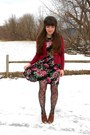 Maroon-thrifted-llbean-cardigan-black-floral-modcloth-dress