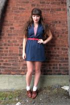 blue vintage dress - brown seychelles shoes