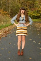 mustard H&M dress - blue UO jacket - brown blimey oxfords seychelles heels