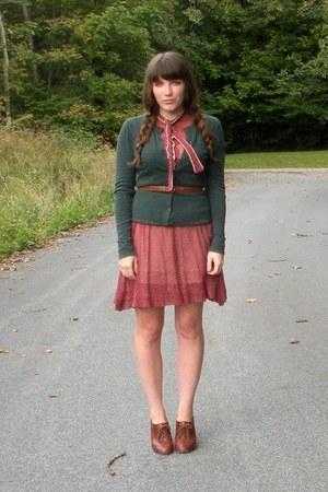 brick red sheer vintage dress - green Target cardigan - brown seychelles heels