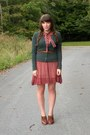 Brick-red-sheer-vintage-dress-green-target-cardigan-brown-seychelles-heels
