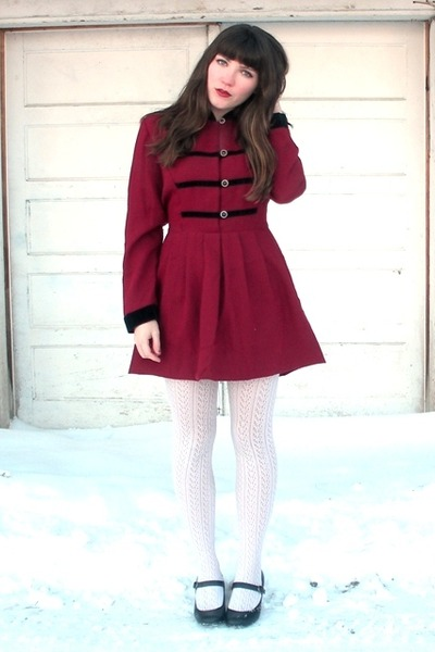 ruby red thrifted dress - ivory Ralph Lauren tights - black payless shoes