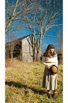beige thrifted sweater - camel thrifted skirt - brown thrifted hat - dark brown