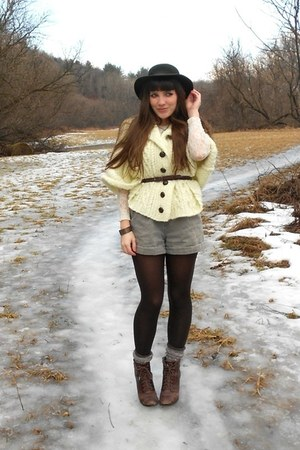 army green thrifted shorts - dark brown cheerio seychelles boots