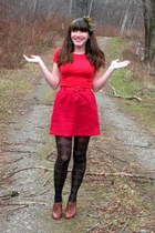 red Old Navy shirt - red thrifted skirt - black tights - brown seychelles shoes