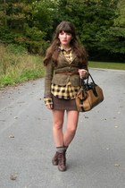 dark brown cheerio seychelles boots - olive green consignment Delias blazer