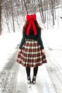 Forest-green-target-cardigan-ruby-red-diy-accessories-beige-thrifted-skirt-