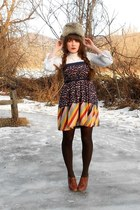 heather gray fur Mad Bomber hat - navy rays the roof modcloth dress