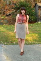 tan sweater thrifted skirt - crimson sheer Lux dress