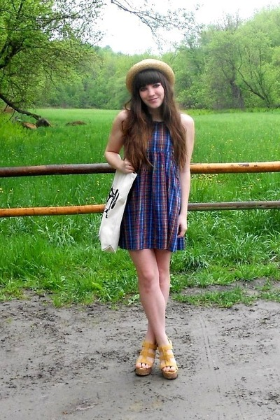 blue plaid thrifted dress - light yellow straw thrifted hat