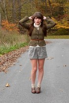 olive green plaid Delias blazer - cream turtleneck Goodwill sweater