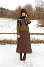 Dark-brown-polka-dot-midi-thrifted-dress-dark-brown-cheerio-seychelles-boots