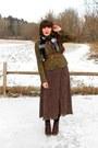 Dark-brown-polka-dot-midi-thrifted-dress-dark-brown-cheerio-seychelles-boots