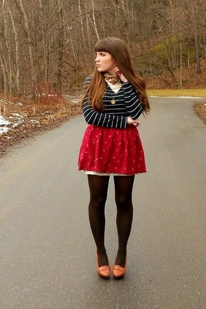 maroon thrifted skirt - cream lace slip Urban Outfitters coat