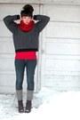 Navy-llbean-sweater-blue-pacsun-jeans-red-shirt-dark-brown-socks-dark-br