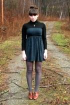 navy vintage dress - bronze DIY necklace - brown seychelles shoes - heather gray